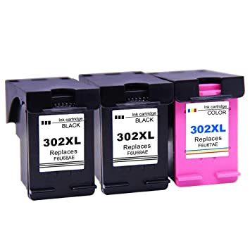 Ksera Remanufacturado Cartuchos de Tinta HP 302 302XL Reemplazos de 3 Paquetes (2 Negro, 1 Tricolor) Alto Rendimiento Cartuchos de Tinta Compatible ...