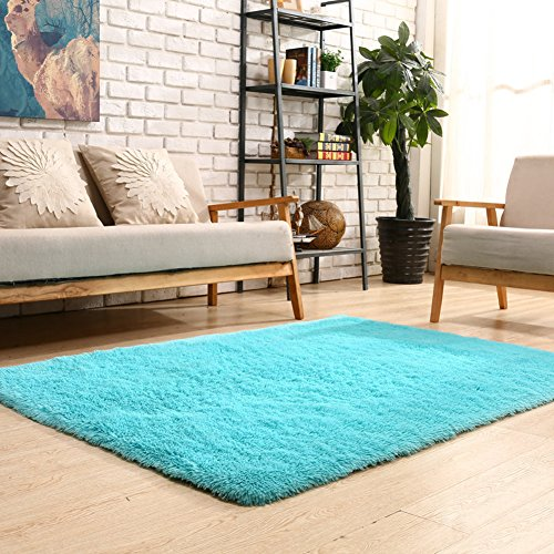 YOH Soft Velvet Area Rugs Bedroom Carpets Fluffy Shaggy Rugs for Living Room Bedroom Kids Room Girls Room Nursery Home Decor Carpet 4 Feet by 5.3 Feet(Blue)