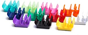 (50 pk) Multi-colored pencil pen and marker holder adhesive clip - Best mount organizer to stick on the wall, desk, locker, refrigerator, office - Great for kids, teacher, artist, classroom, clipboard