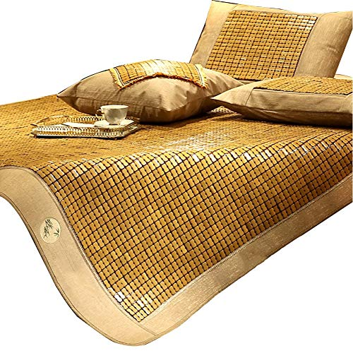 - GUORRUI Summer Sleeping Mats Bamboo Fold Breathable Skin-Friendly Environmental Protection Double Bed, 2 Styles, 7 Sizes (Color : A, Size : 180x200cm)