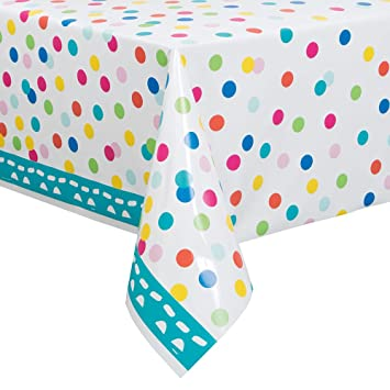 Confetti Cake Birthday Plastic Tablecloth, 84u0026quot; X 54u0026quot;