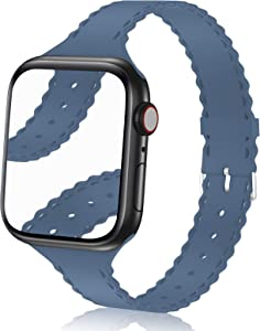Bandiction Compatible with Apple Watch Bands 38mm 40mm Women Slim Thin iWatch Bands Soft Silicone Sport Bands Narrow Watch Strap Compatible for Apple Watch SE iWatch Series 6 5 4 3 2 1