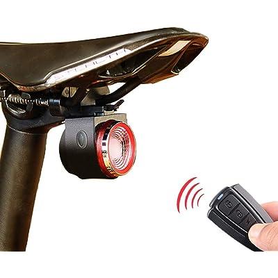 XIAOKOA Luz Trasera con Alarma Inteligente, Sonido Integrado y luz antirrobo, Carga USB, con Mando a Distancia y función Impermeable