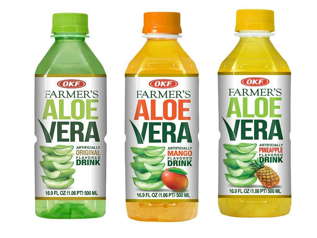 OKF Farmer's Aloe Vera Drink, Original, Mango and Pineapple, 16.9 Fluid Ounce (Pack of 20 each)