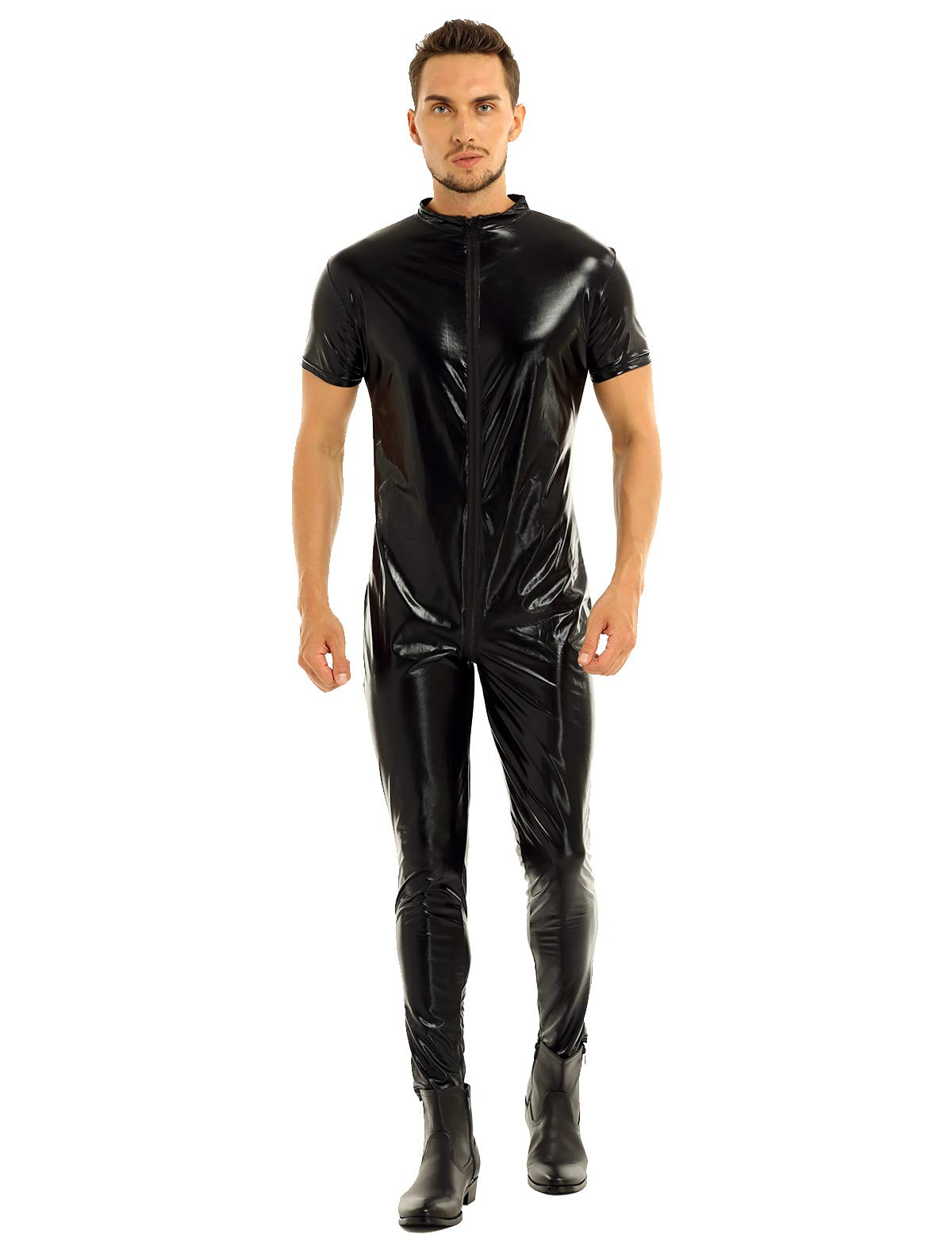 Inlzdz Mens Shiny Metallic Faux Leather Zippered Full Body Leotard Bodysuit Zentai Catsuit Black Large