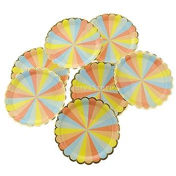 P Prettyia Vajilla Desechable de Papel con Dibujo Arcoiris para Tartas, Cupcakes, Cafe, Leche - plato, 8: Amazon.es: Hogar
