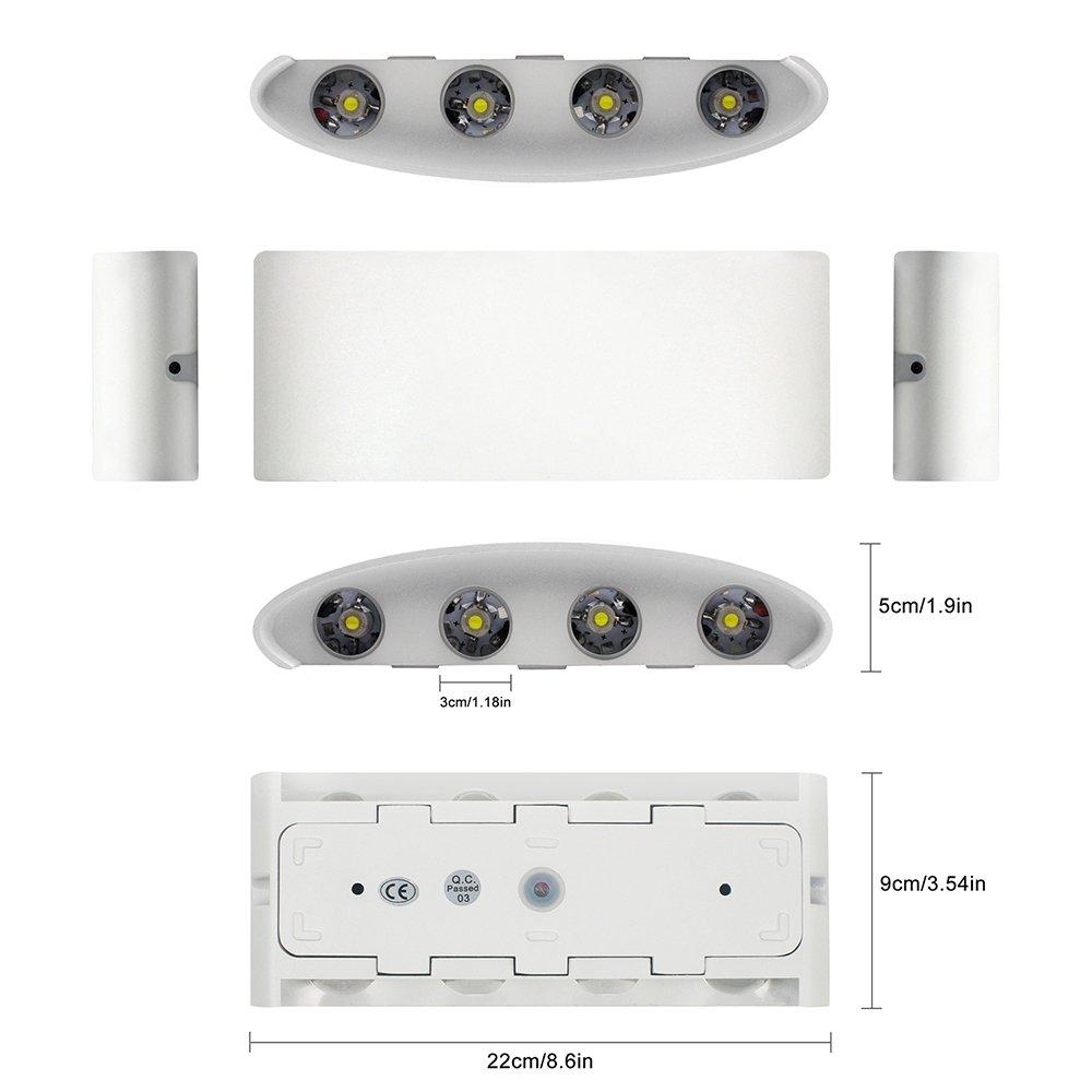 Led Wall Lights White Aluminium Waterproof Modern Lamp 8w Up Light Wiring Diagram Uk Down Spot Cold 6000k Wash For Living Room Bedroom Hallway