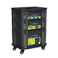 Caja de herramientas Goodyear/ Set de cajas de herramientas apilables/ Organizador para herramientas Mod. GY-139222 / Estuche para herramientas Goodyear / Set de 3 cajas apilables para herramientas con carrito Goodyear Mod. G-139222