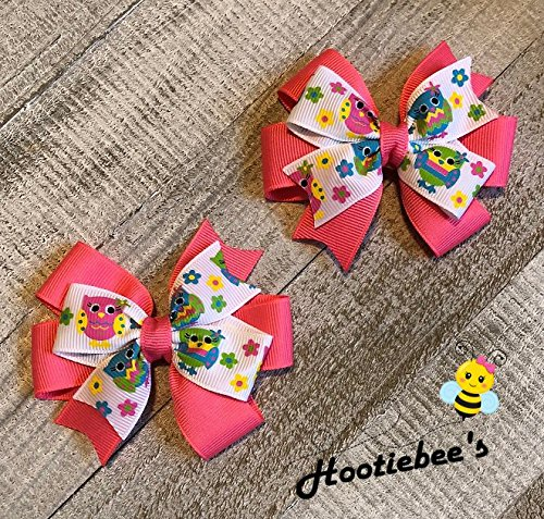 Owl Toddler Hair Bow Set (Hot Pink or Blue) ()