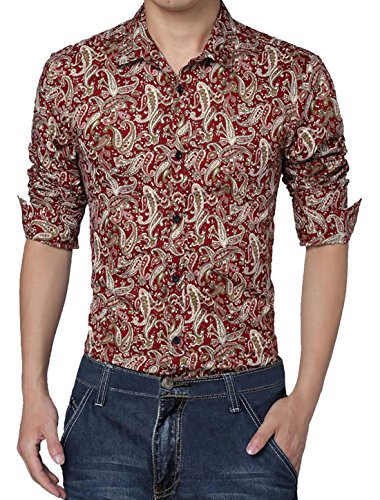 uxcell Men Long Sleeve Button Down Paisleys Print Slim Fit Shirt Burgundy (Mens Paisley)