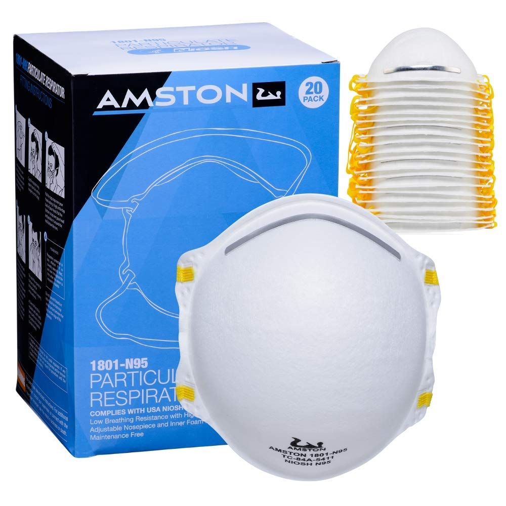 Amston N95 Model 1801 Protective Dust Mask - Disposable Particulate Respirator - NIOSH-Certified - 20/box - 2 Boxes by Amston Tool Company