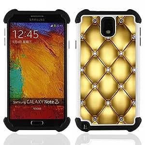 """SAMSUNG Galaxy Note 3 III / N9000 / N9005 - 3 en 1 impreso colorido de Altas Prestaciones PC Funda chaqueta Negro cubierta gel silicona suave (Oro Diseño Diamante Bling del brillo"""")"""