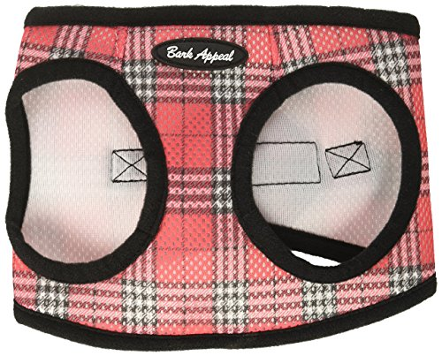 Bark Appeal Mesh Step in Harness, Medium, Red Plaid
