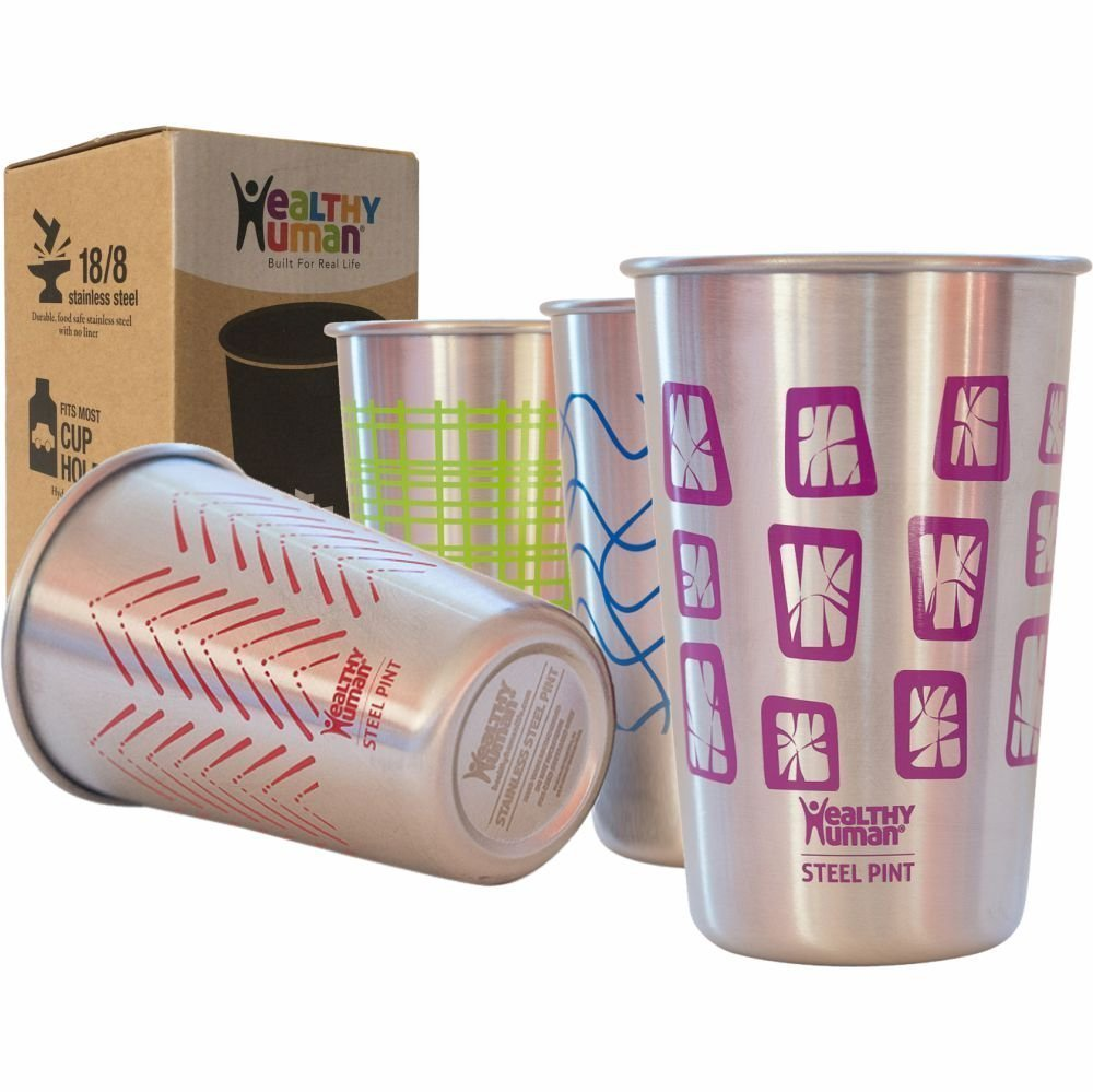 Healthy Human Stainless Steel Cups - Retro Color 16oz Ideal Beer Pints, Iced Tea Tumblers, Wine & Water Mugs, Camping Cup - Bar Set. - Retro Style by Healthy Human B011S7B3HC レトロ レトロ