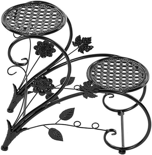 Asnvvbhz Soporte de exhibición de Plantas de Hierro de pie de Planta de 2 gradas para macetas en el jardín Decoración de Patio de Hierro en Maceta dekoration (Negro): Amazon.es: Hogar