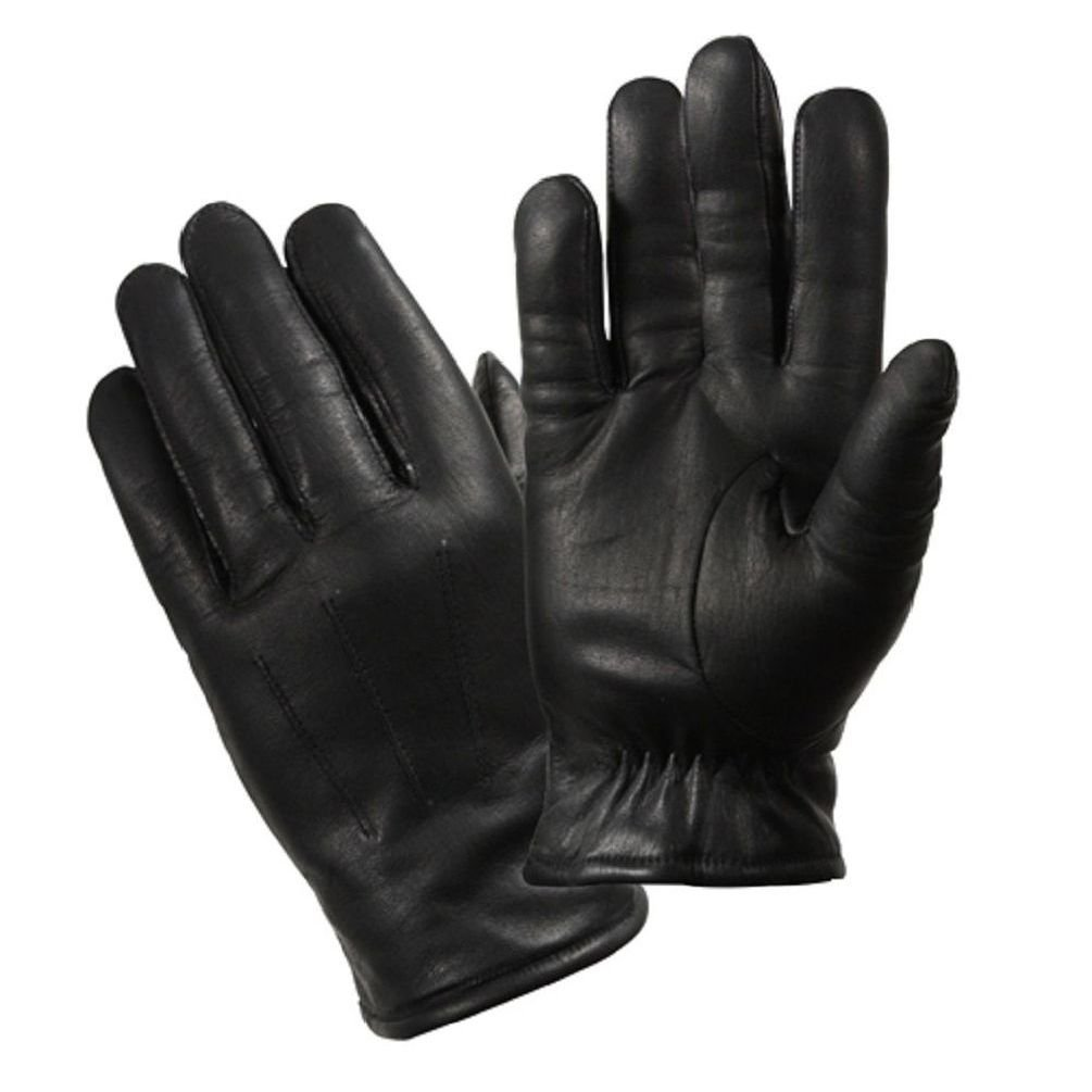 Black Military & Law Enforcement Cold Weather Leather Gloves