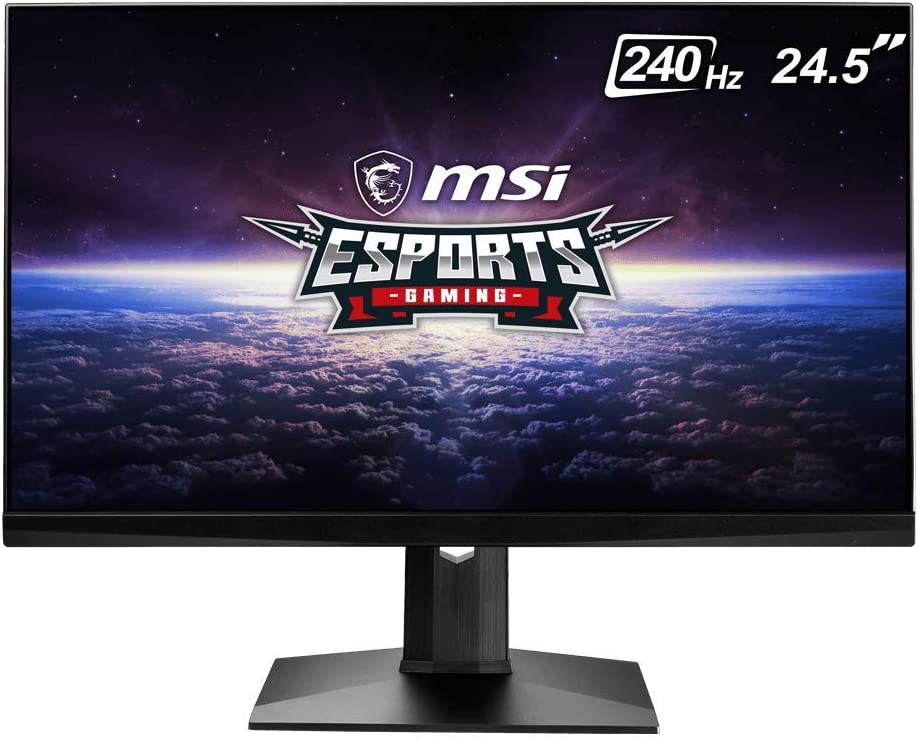 "MSI 24.5"" FHD (1920 x 1080) Non-glare with Super Narrow Bezel 240Hz 1ms 16:9 HDMI/DP/USB Height Adjustment G-Sync Compatible IPS Gaming Monitor (OPTIX MAG251RX),Black"