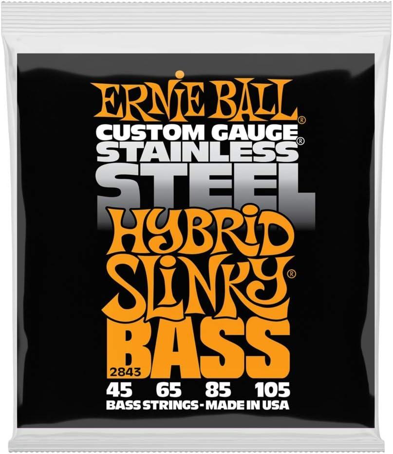 Cuerdas para bajos eléctricos Ernie Ball Hybrid Slinky de acero inoxidable - calibre 45-105