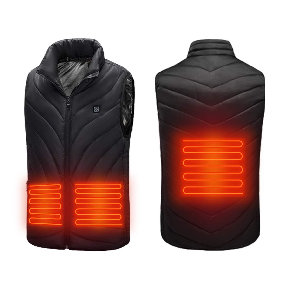 MaByTre Heated Vest Standing Collar Electric Jacket Clothes Heating Body Warmer USB Rechargeable Washable Lightweight Gilet with 3 Temperature for Camp Outdoor Skiing (No Battery)