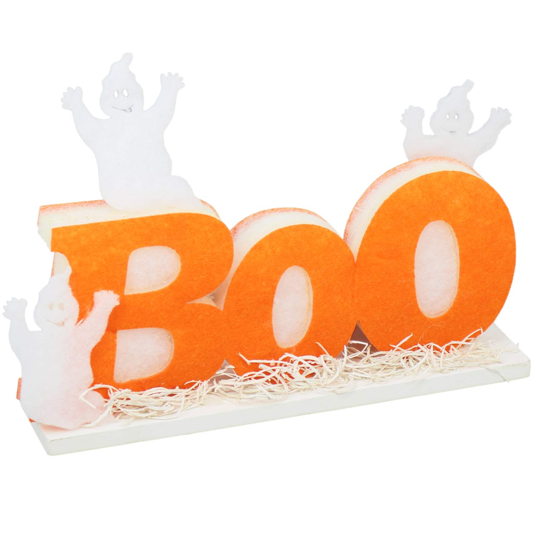 COM-FOUR® Decorazione di Halloween Scritta Boo con Illuminazione a LED, Decorazione da Tavolo con Fantasmi, Supporto per Decorazione, 25 x 18 x 6 cm (01 Pezzi - Stand)
