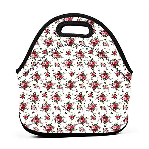 (Tote Waterproof Outdoor Flowers,Bridal Bouquets Pattern with Roses and Freesia Romantic Victorian Composition,Pink Ruby Green,hard sided lunch bag for men)