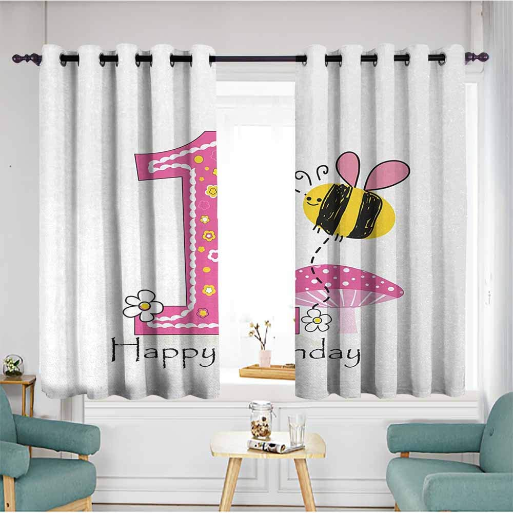 duommhome 1st Birthday Bedroom windproofcurtain Cartoon Style Image with The Bees Party Cake and The Candle Print Noise Reducing 72'' Wx63 L Pink Black and Yellow
