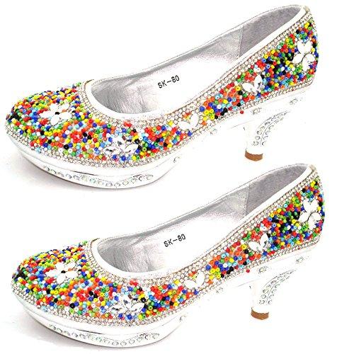 Soft Step KIDS-COURT-SHOES-HIGH-HEEL-PARTY-WEDDING-CHILDREN-DIAMANTE-BRIDESMAID-GIRLS-S80 Silver ynnBavXJvd