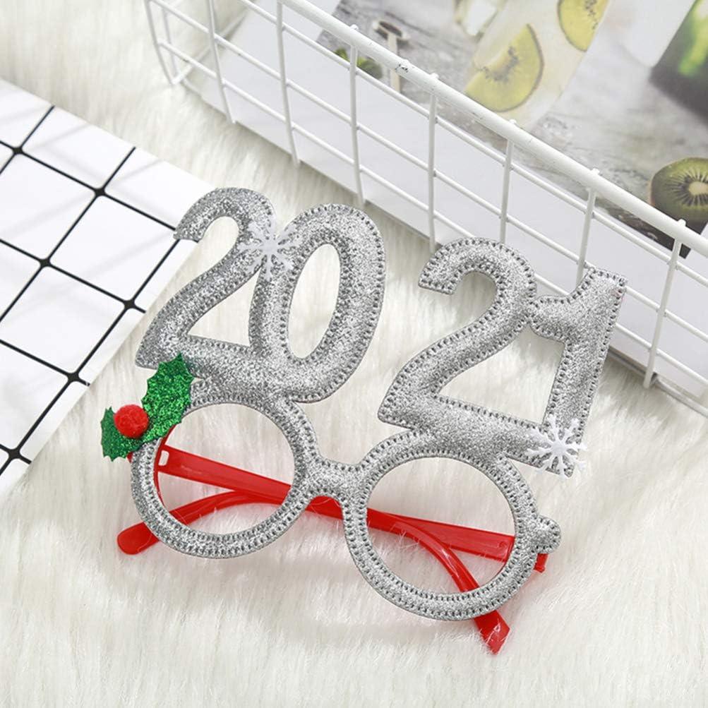 PRETYZOOM 2021 Weihnachtsbrillen Weihnachtsfeierbrille Foto Requisiten 2021 Partybrille 2021 Silvester Partybrille Partybevorzugungen Liefert Dekorationen 4St
