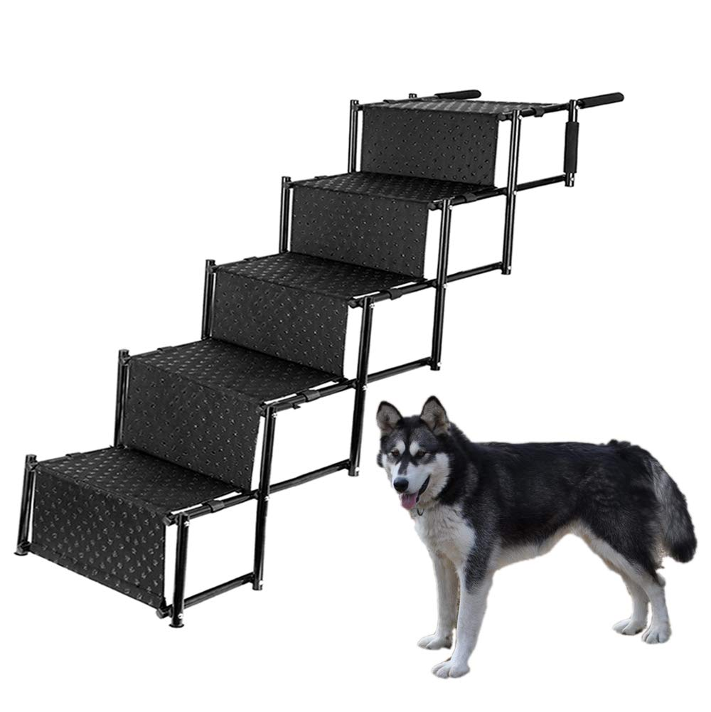 Upgraded 5 steps Pet Dog Car Step Stairs, Accordion Folding Pet Ramp for Indoor Outdoor Use, Lightweight Portable Auto Large Dog Ladder, Great for Cars, Trucks and SUVs Cargo, Sailboat, Couch and High Bed, 5 Steps