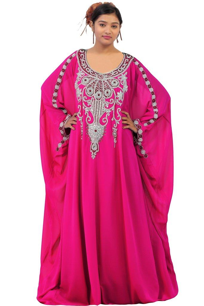 Dubai Very Fancy Kaftan Luxury Crystal Beaded Caftan Abaya Wedding Dress (XXXXL Dark Pink)