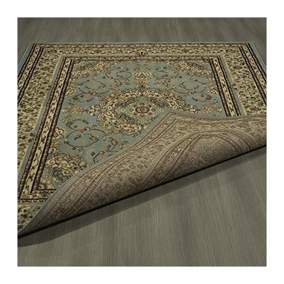 """Ottomanson Royal Collection Area Rug, 5'3""""X7'0"""", Seafoam Oriental Medallion - ROYAL STYLE and SUPERIOR COMFORT to any room with its intricate designs and colors combined with exquisite materials and construction. LONGEVITY and convenient upkeep is ensured with the expert-quality DURABLE construction JUTE-BACKING and BOUND edges for a clean look - living-room-soft-furnishings, living-room, area-rugs - 615N%2BE5vZNL. SS570  -"""