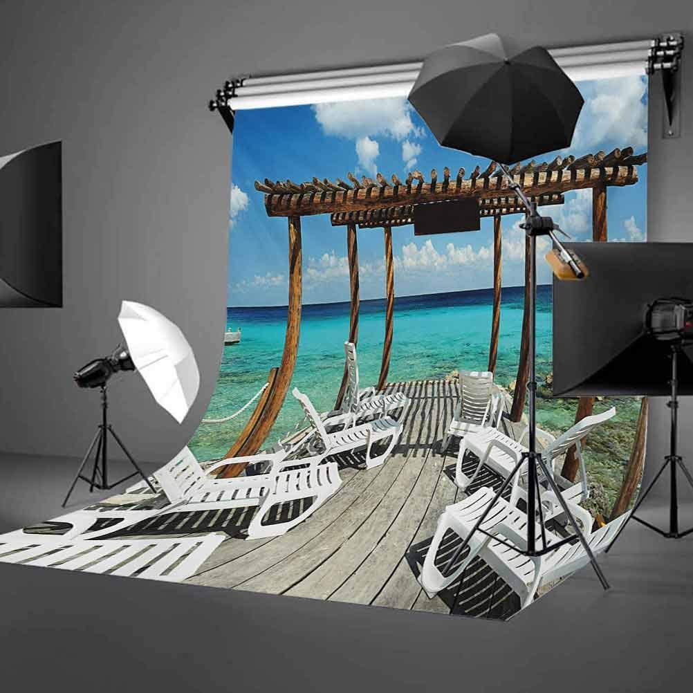 Travel 10x15 FT Backdrop Photographers,Beach Sunbeds Ocean Sea Scenery with Wooden Seem Pier Image Print Background for Kid Baby Boy Girl Artistic Portrait Photo Shoot Studio Props Video Drape Vinyl