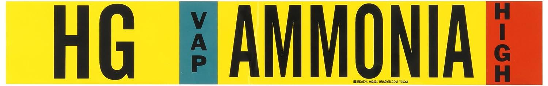 IIAR B-946 2 1//4 Height X 14 Width Black Red On Yellow Pressure Sensitive Vinyl Sky Blue Ammonia 2 1//4 Height X 14 Width Legend HG Ammonia Pipe Markers Brady 90404 Ammonia Legend HG