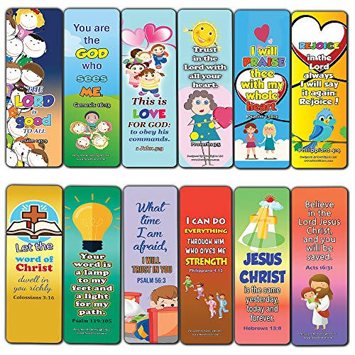 Short Bible Verses for Kids Bookmarks (30-Pack) - Handy Memory Verses for Kids and Colorful Bookmarks Perfect for Children's Ministries and Sunday Schools