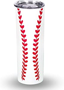 Baseball Skinny Tumbler Cup with Lids, 20oz Slim Coffee Mug Stainless Steel Vacuum Insulated TumblerCoffee, Tea, Beverages Cup Sports Gifts (baseball)