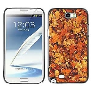 TopCaseStore / la caja del caucho duro de la cubierta de protección de la piel - Leaves Golden Brown Yellow Forest - Samsung Galaxy Note 2 N7100