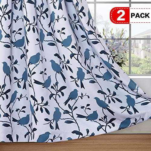 H.VERSAILTEX Blackout Grommet Curtains for Living Room Noise Reducing Thermal Insulated Window Curtain Drapes for Dining Room, Country Style Birds Blue Pattern (2 Panels,W52 x L96 Inch) (Blue Country Bedroom)