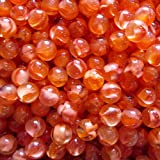 "Unique & Custom {3/4'' Inch} Approx 2 Pound Set of Big ""Round"" Clear Marbles Made of Glass for Filling Vases, Games & Decor w/ Ruby Amber Cats Eye Swirl Fish Egg Tone Design [Red & Orange Colors]"