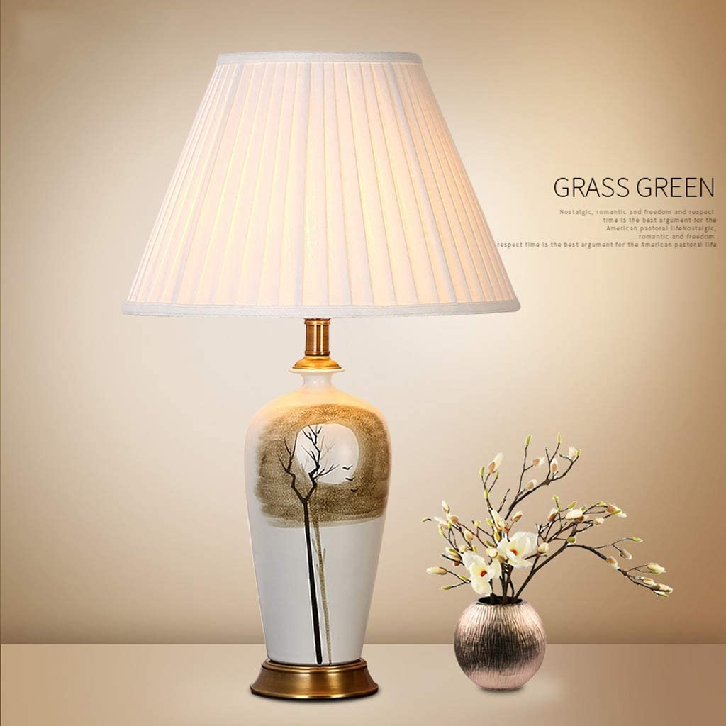Table Lamp-European Pastoral Style High-end Living Room Study Ceramic Table Lamp, Bedroom Bedside Hand-Painted Decorative Table Lamp (Color : Dimming Switch) Push Button Switch