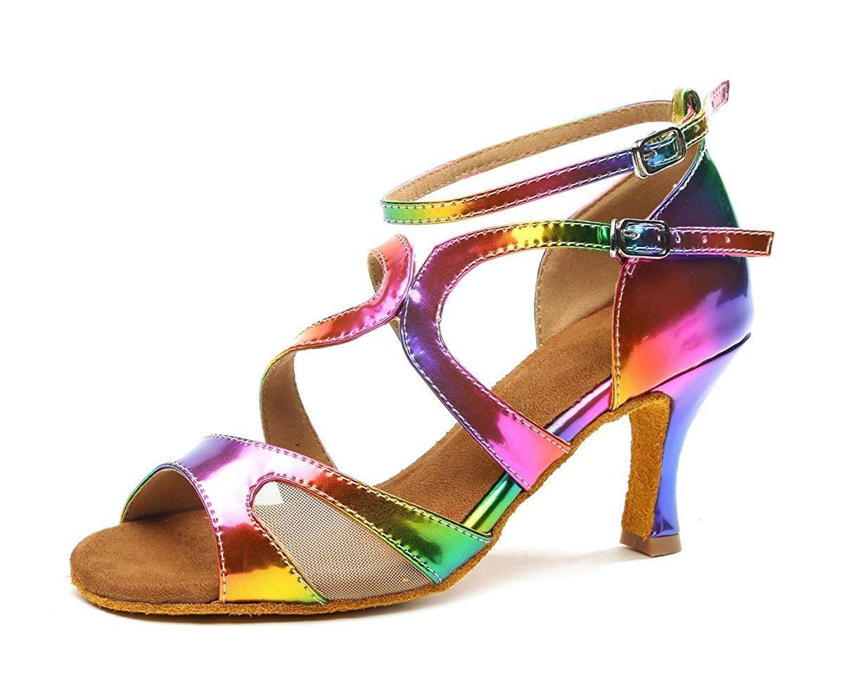 Qiusa GL249 Damen Knöchelriemen MultiFarbe Synthetische Mode Tanzschuhe Bunte Party Prom Sandalen UK 2 (Farbe   - Größe   -)