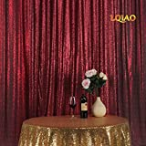 LQIAO Embroidered Sequin Fabric Backdrop Curtain 8FTx8FT Burgundy Modern Window Drapes Sequin Curtain for living room/photo booth backdrop
