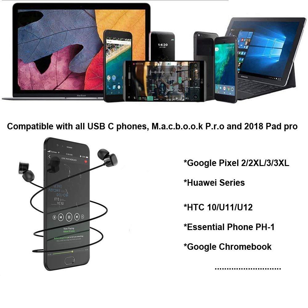 Type C USB C Earbuds Earphones Headphones Type C Digital Active Noise with Mic for Google Pixel 2//2XL//3//3XL Moto Z Huwei Essential U12 11
