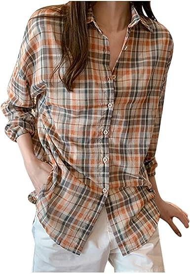 Fossen Camisas Mujer Tallas Grandes Originales a Rayas Cuadros Manga Larga - Camisas Modernas para Mujer Juveniles Blusas y Camisas de Mujeres Flojo: Amazon.es: Ropa y accesorios