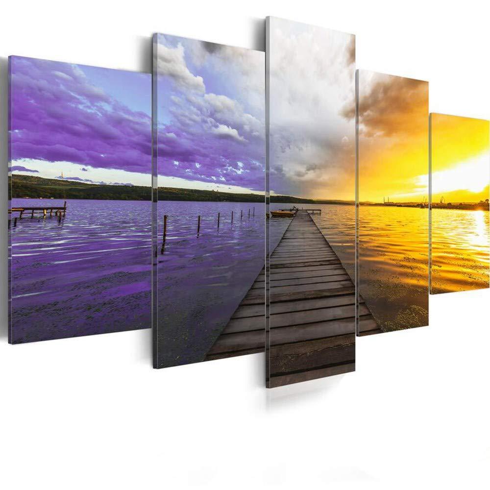 DYDONGWL Multi Panel Impresión en Lienzo Arte de de Arte la Pared Nubes de Colores Puesta de Sol Mar Puente de Madera para la decoración del hogar, 30x45cmX2 30x60cmX2 30x75cm dc65c7