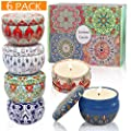 LEOSAN Scented Candles,Soy Wax 6-Pack Gift Package Vanilla,Lavender,Rose,Orange,Lemon,Amber Musk,Natural for Stress Relief and Aromatherapy Candle Sets Gifts for Women,Lasting 120hours,2.5Oz per tin