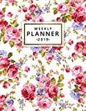 Weekly Planner 2019: Rose floral 2019 planner and
