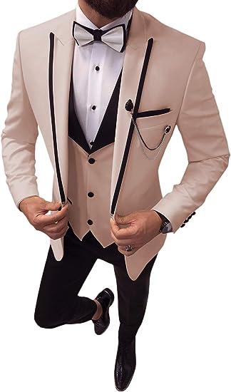 Aesido Mens Suit Formal 3 Pieces Slim Fit Shawl Lapel Solid Prom Tuxedos Wedding Groomsmen Blazer+Vest+Pants 2019