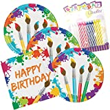 Art Party Birthday Theme Plates and Napkins Serves 16 With Birthday Candles