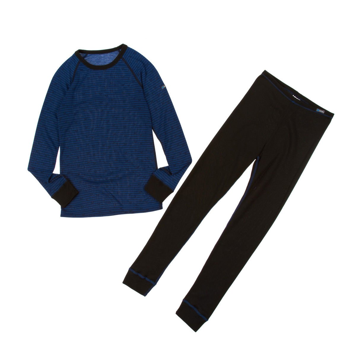 ODLO Warm Children/'s Set Tights Long-Sleeved T-Shirt Black//Estate