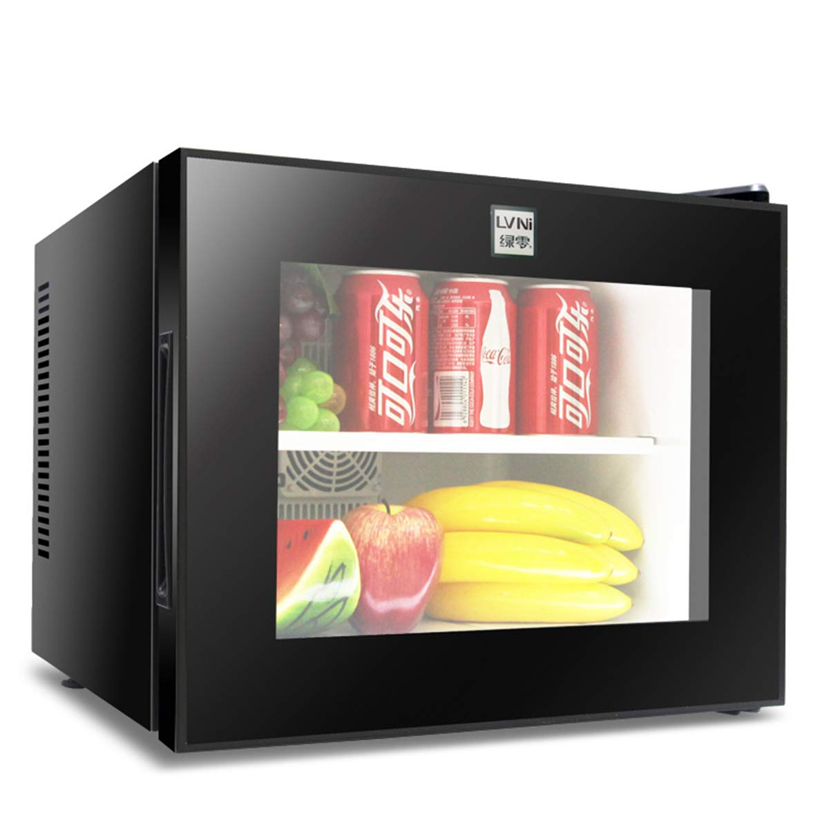 Dapang Mini Fridge with Tempering Glass Visual Door - Cooler and Warmer - Vertical Freezer & Compact Refrigerator - Includes Plugs for AC & DC Power Cords,20L